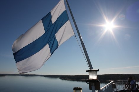 Finnish flag on a ship, which I like